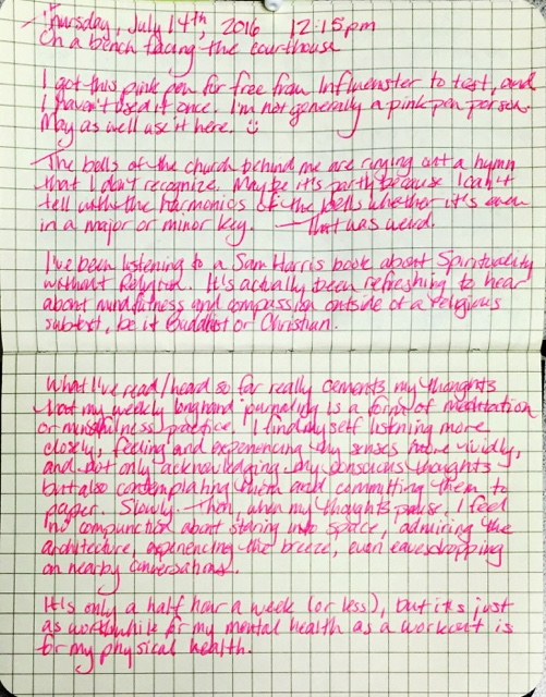 Longhand journaling about mindfulness