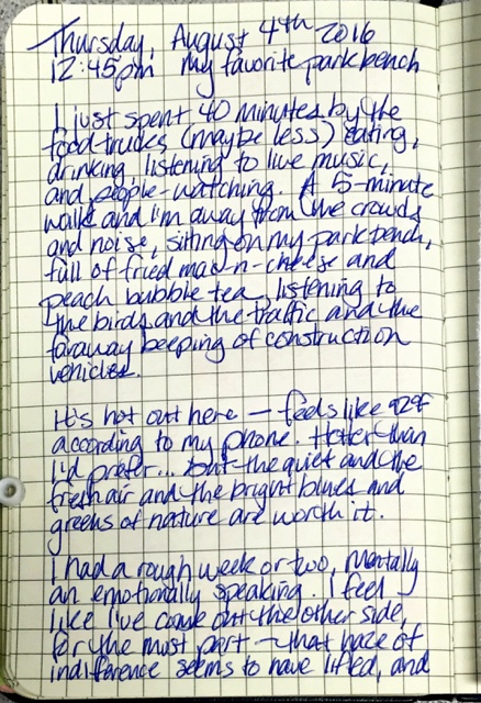 I wrote in my longhand journal about getting away from the lunch crowd
