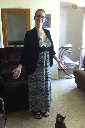 Me in my halter maxi dress with cardigan and sandals