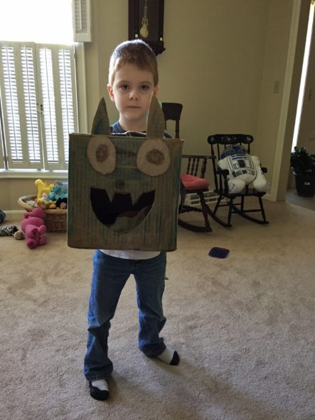 Connor with his Cardboard Cat