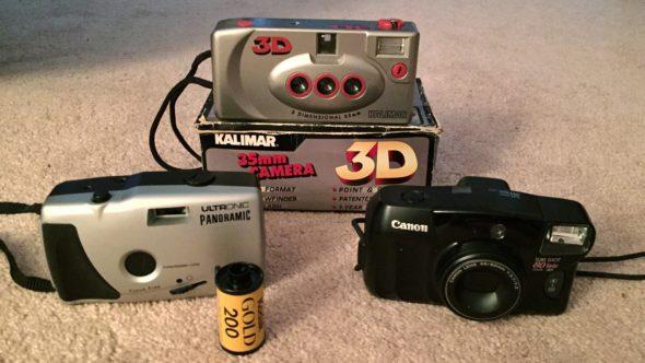 Three film cameras from Goodwill