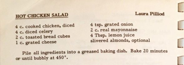 Recipe for Hot Chicken Salad by Laura Pilliod