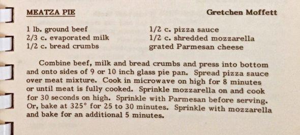 Recipe for Meatza Pie by Gretchen Moffett