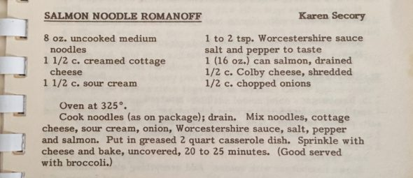 Recipe for Salmon Noodle Romanoff by Karen Secory