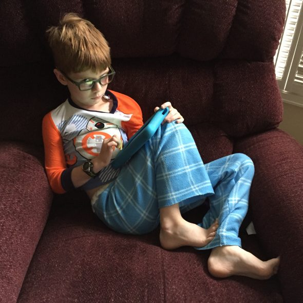 Connor wearing his blue jammie pants