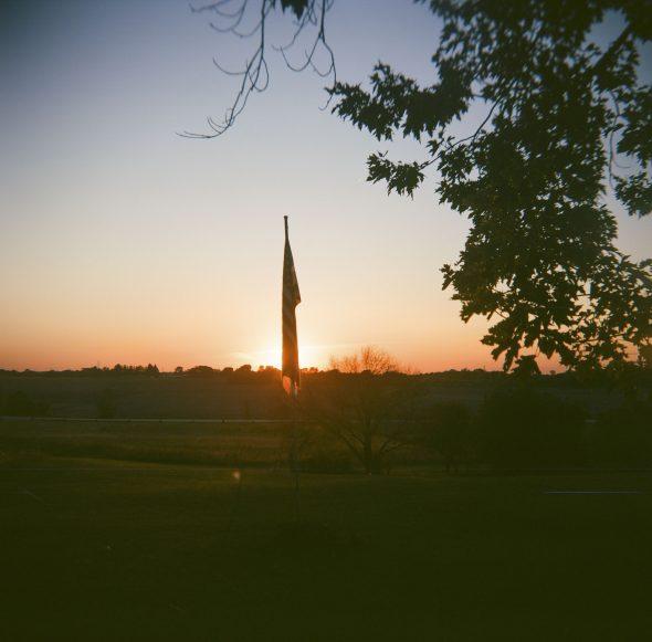 Flag sunset silhouette