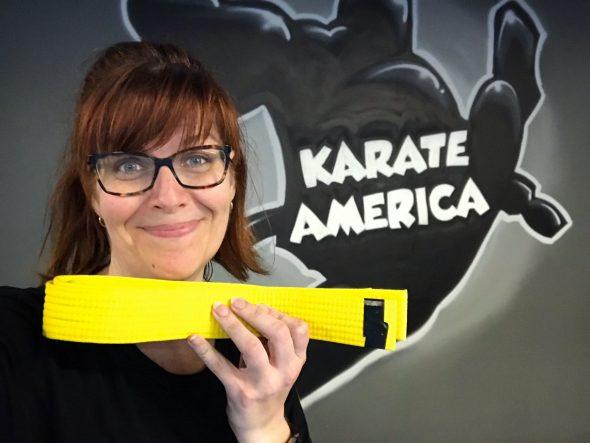 Yellow belt stripe number one!