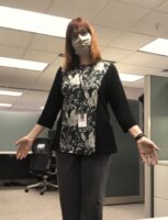I wore my green and black colorblock tunic to work on my single in-person day in October 2020.